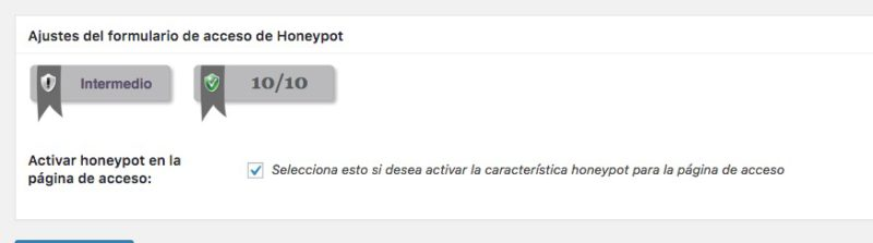 Honeypot acceso formularios wordpress